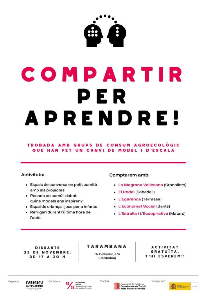 Cartell de l'acte Compartir per apendre, organitzat per Cardedeu Autosuficient, el 23 de novembre de 2019.