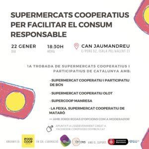Cartell de la jornada organitzada per de Food Coop Bcn, Supermercats cooperatius per facilitar el consum responsable